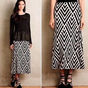 Anthro maeve peaked chevron maxi skirt medium